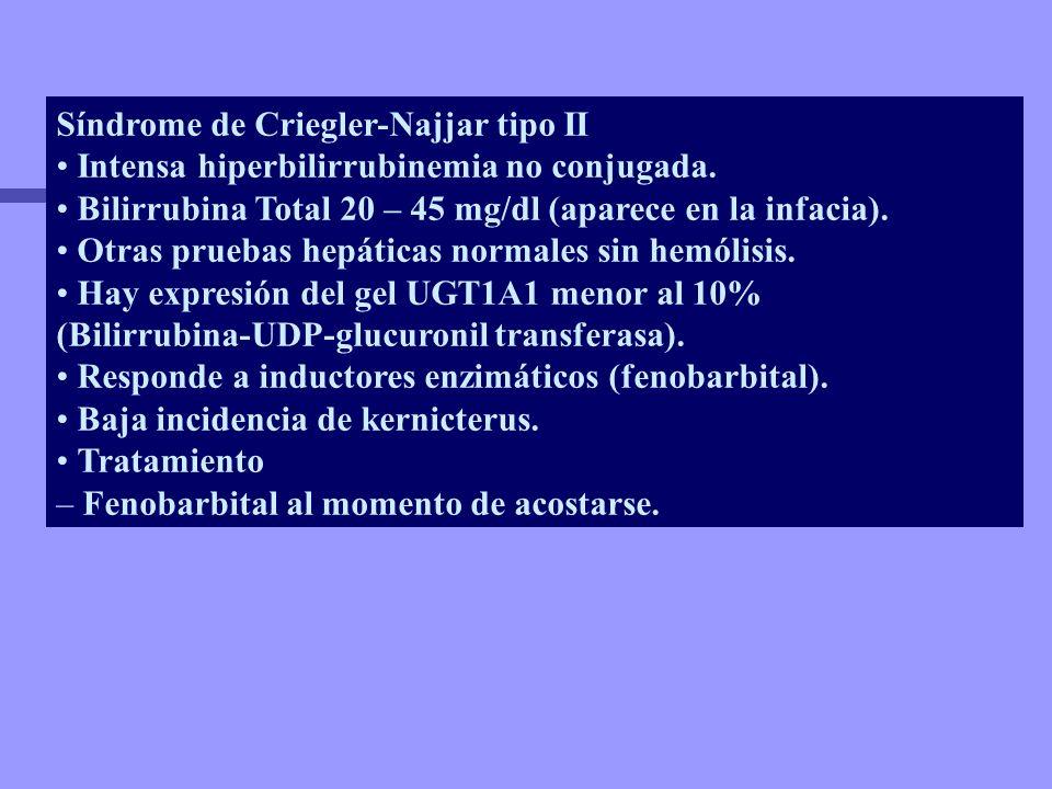 Síndrome de Criegler-Najjar tipo II Intensa hiperbilirrubinemia no conjugada. Bilirrubina Total 20 – 45 mg/dl (aparece en la infacia). Otras pruebas h