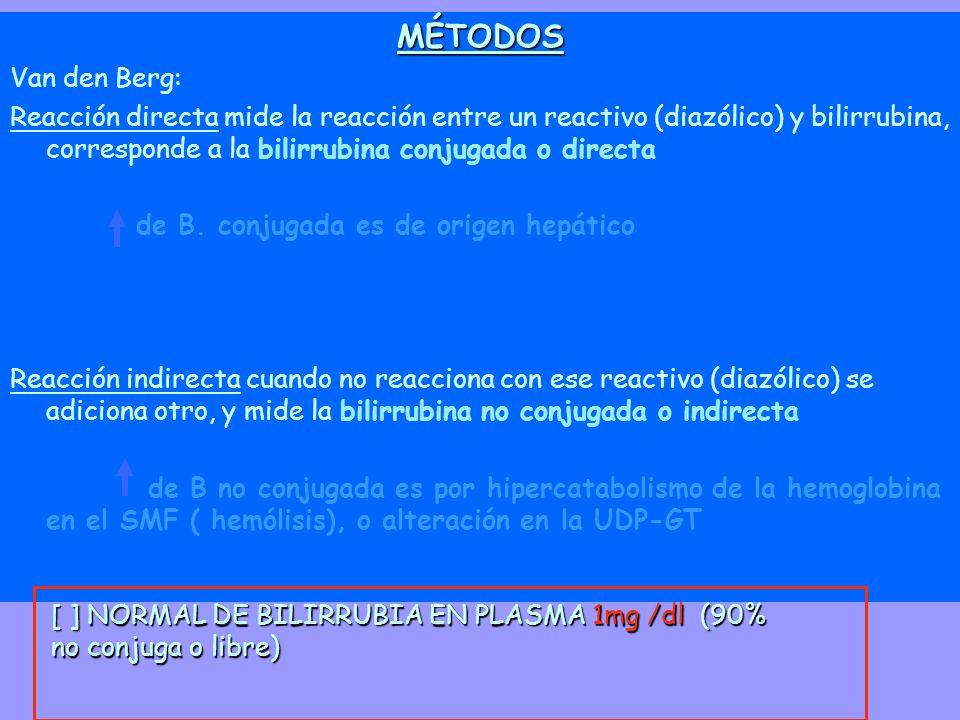 [ ] NORMAL DE BILIRRUBIA EN PLASMA 1mg /dl (90% no conjuga o libre) MÉTODOS Van den Berg: Reacción directa mide la reacción entre un reactivo (diazóli