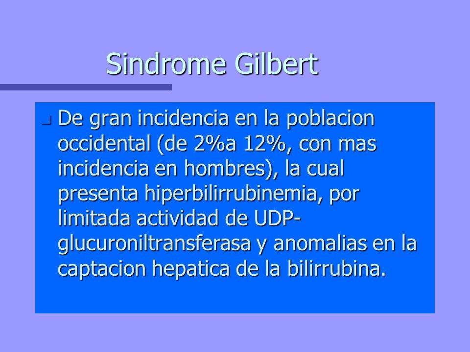 Sindrome Gilbert n De gran incidencia en la poblacion occidental (de 2%a 12%, con mas incidencia en hombres), la cual presenta hiperbilirrubinemia, po
