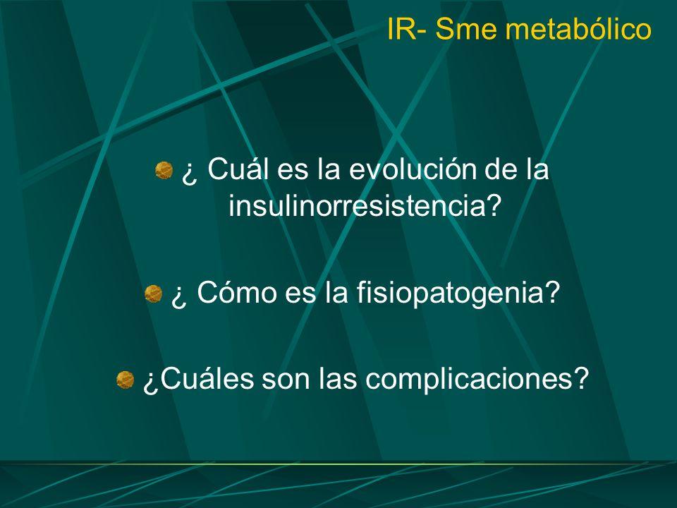IR- Sme metabólico ¿ Cuál es la evolución de la insulinorresistencia? ¿ Cómo es la fisiopatogenia? ¿Cuáles son las complicaciones?