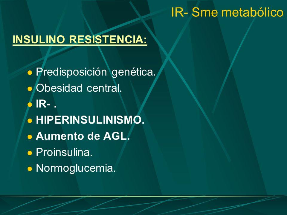 IR- Sme metabólico INSULINO RESISTENCIA: Predisposición genética. Obesidad central. IR-. HIPERINSULINISMO. Aumento de AGL. Proinsulina. Normoglucemia.