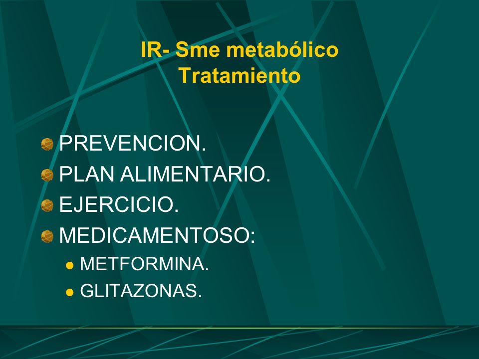 IR- Sme metabólico Tratamiento PREVENCION. PLAN ALIMENTARIO. EJERCICIO. MEDICAMENTOSO: METFORMINA. GLITAZONAS.