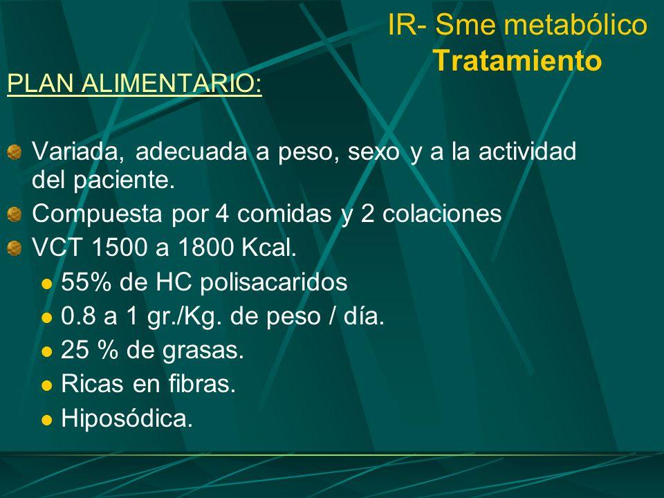 IR- Sme metabólico Tratamiento PLAN ALIMENTARIO: Variada, adecuada a peso, sexo y a la actividad del paciente. Compuesta por 4 comidas y 2 colaciones