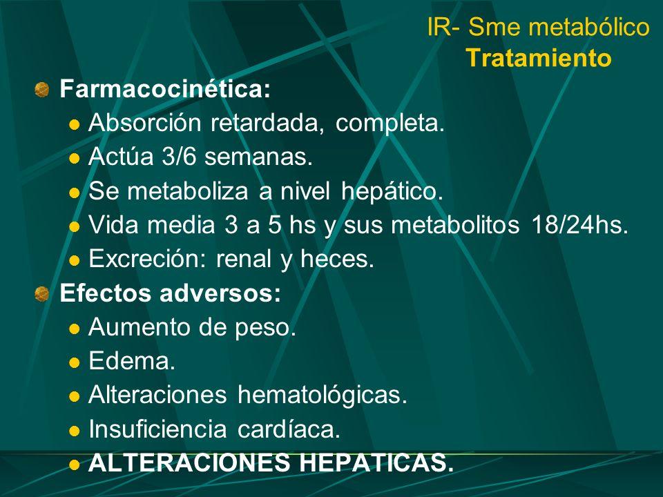 IR- Sme metabólico Tratamiento Farmacocinética: Absorción retardada, completa. Actúa 3/6 semanas. Se metaboliza a nivel hepático. Vida media 3 a 5 hs