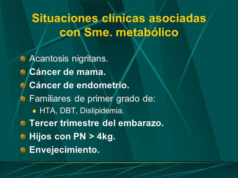 Situaciones clínicas asociadas con Sme. metabólico Acantosis nigritans. Cáncer de mama. Cáncer de endometrio. Familiares de primer grado de: HTA, DBT,