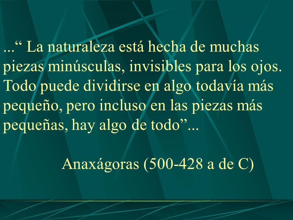 ... La naturaleza está hecha de muchas piezas minúsculas, invisibles para los ojos. Todo puede dividirse en algo todavía más pequeño, pero incluso en