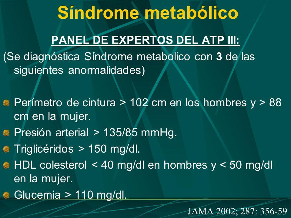Síndrome metabólico PANEL DE EXPERTOS DEL ATP III: (Se diagnóstica Síndrome metabolico con 3 de las siguientes anormalidades) Perímetro de cintura > 1
