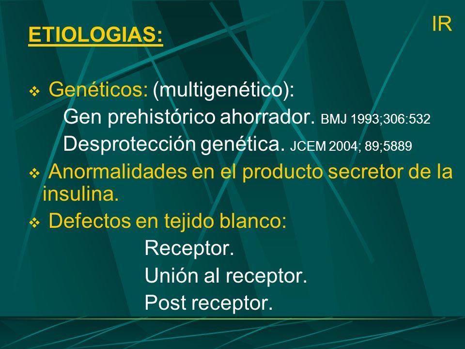 IR ETIOLOGIAS: Genéticos: (multigenético): Gen prehistórico ahorrador. BMJ 1993;306:532 Desprotección genética. JCEM 2004; 89;5889 Anormalidades en el