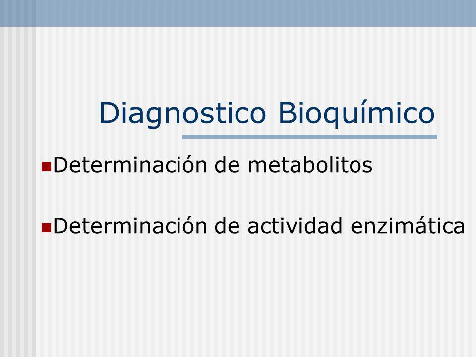 Diagnostico Bioquímico Determinación de metabolitos Determinación de actividad enzimática