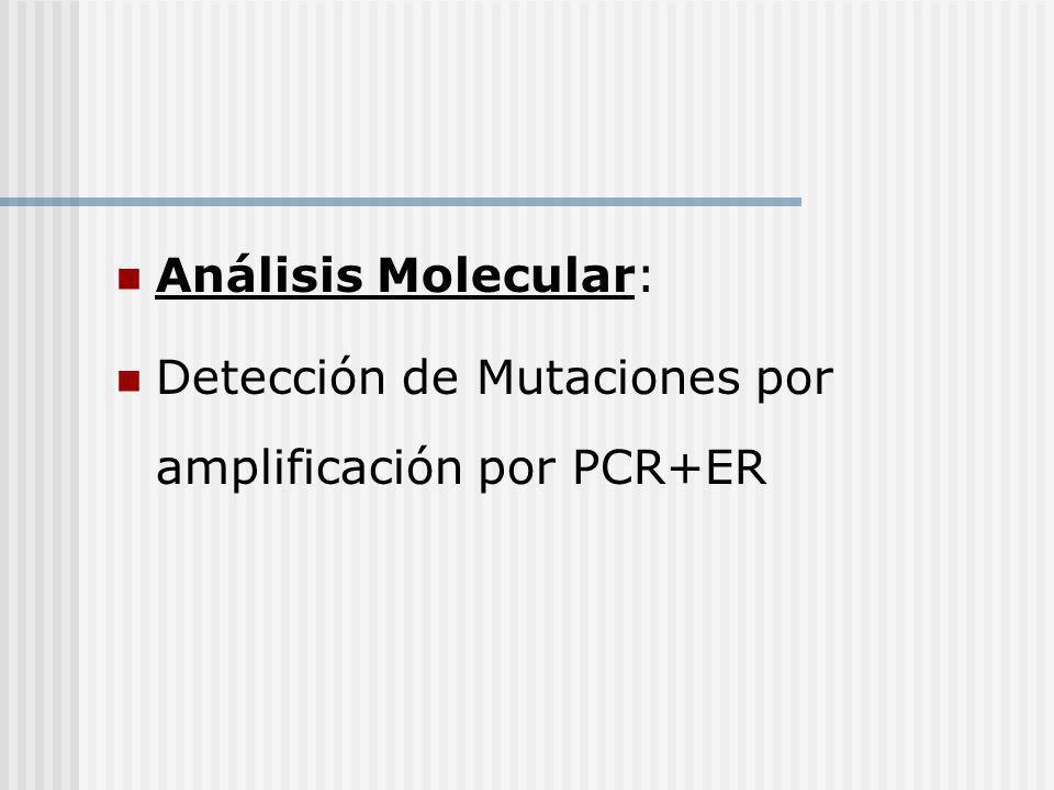Análisis Molecular: Detección de Mutaciones por amplificación por PCR+ER