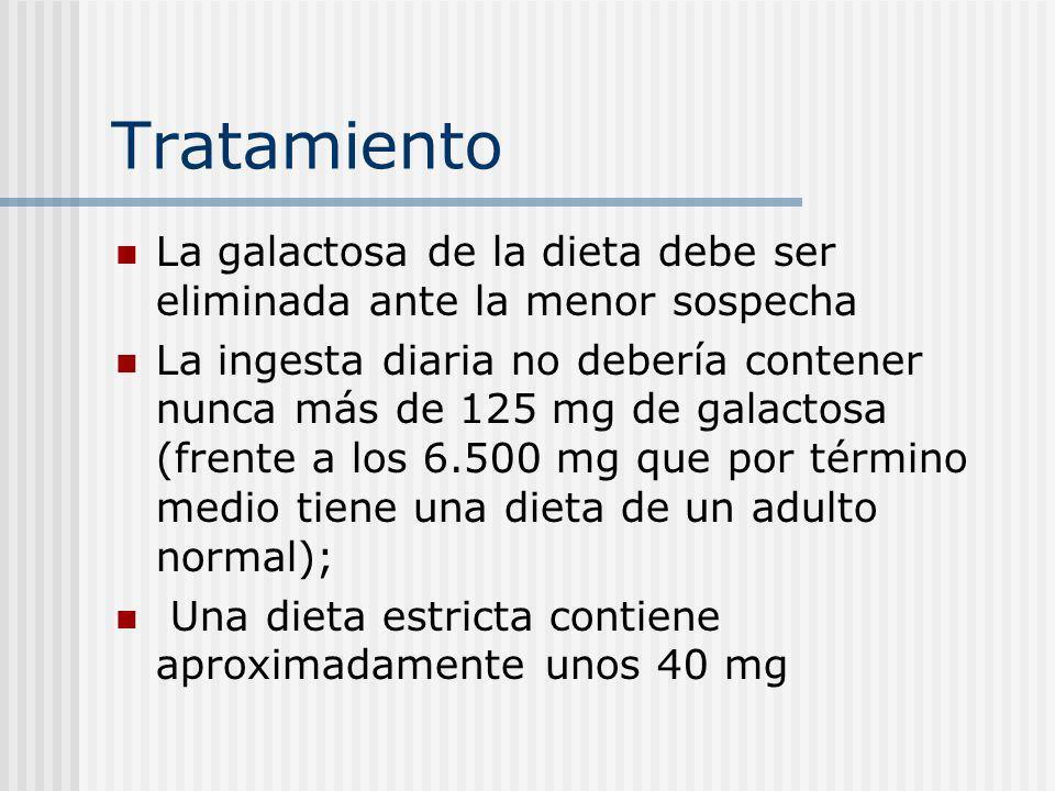 Tratamiento La galactosa de la dieta debe ser eliminada ante la menor sospecha La ingesta diaria no debería contener nunca más de 125 mg de galactosa