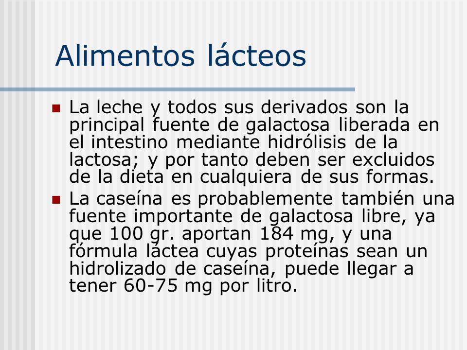 Alimentos lácteos La leche y todos sus derivados son la principal fuente de galactosa liberada en el intestino mediante hidrólisis de la lactosa; y po