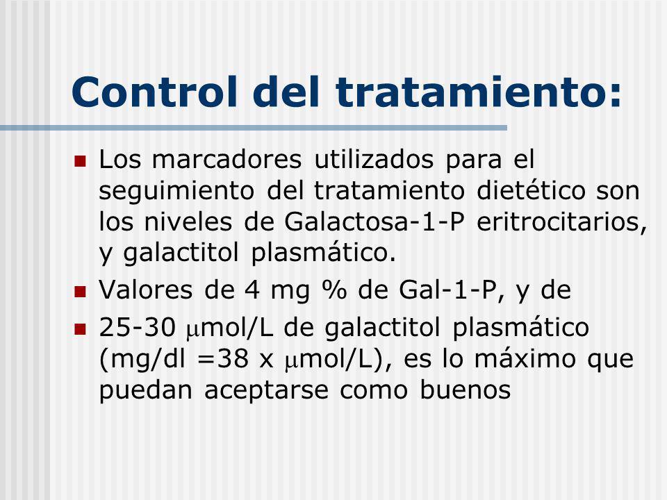 Control del tratamiento: Los marcadores utilizados para el seguimiento del tratamiento dietético son los niveles de Galactosa-1-P eritrocitarios, y ga