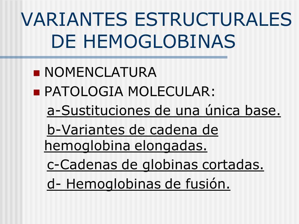 VARIANTES ESTRUCTURALES DE HEMOGLOBINAS NOMENCLATURA PATOLOGIA MOLECULAR: a-Sustituciones de una única base. b-Variantes de cadena de hemoglobina elon