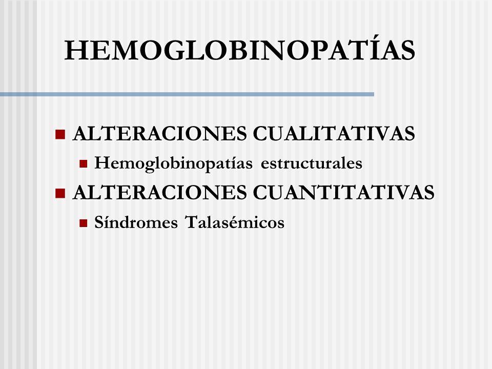 HEMOGLOBINOPATÍAS ALTERACIONES CUALITATIVAS ALTERACIONES CUALITATIVAS Hemoglobinopatías estructurales Hemoglobinopatías estructurales ALTERACIONES CUANTITATIVAS ALTERACIONES CUANTITATIVAS Síndromes Talasémicos Síndromes Talasémicos