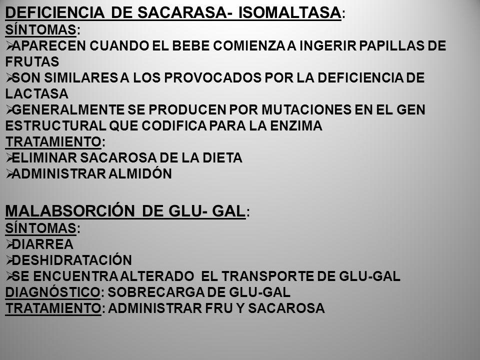 DEFICIENCIA DE SACARASA- ISOMALTASA : SÍNTOMAS: APARECEN CUANDO EL BEBE COMIENZA A INGERIR PAPILLAS DE FRUTAS SON SIMILARES A LOS PROVOCADOS POR LA DE