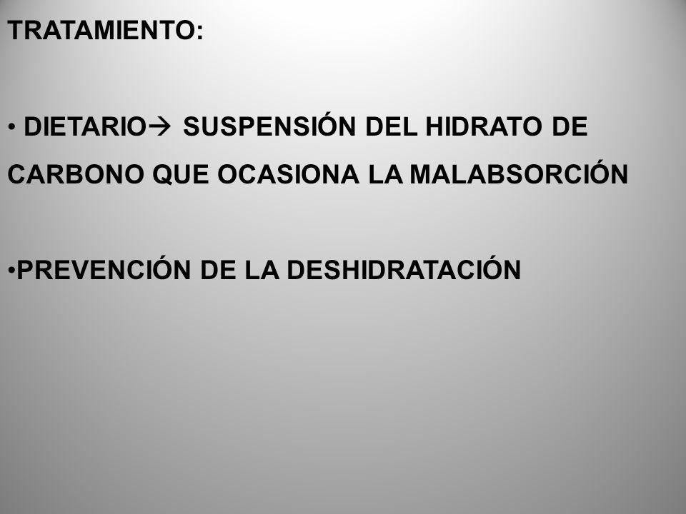 TRATAMIENTO: DIETARIO SUSPENSIÓN DEL HIDRATO DE CARBONO QUE OCASIONA LA MALABSORCIÓN PREVENCIÓN DE LA DESHIDRATACIÓN