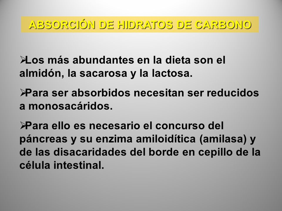 ABSORCIÓN DE HIDRATOS DE CARBONO Los más abundantes en la dieta son el almidón, la sacarosa y la lactosa. Para ser absorbidos necesitan ser reducidos
