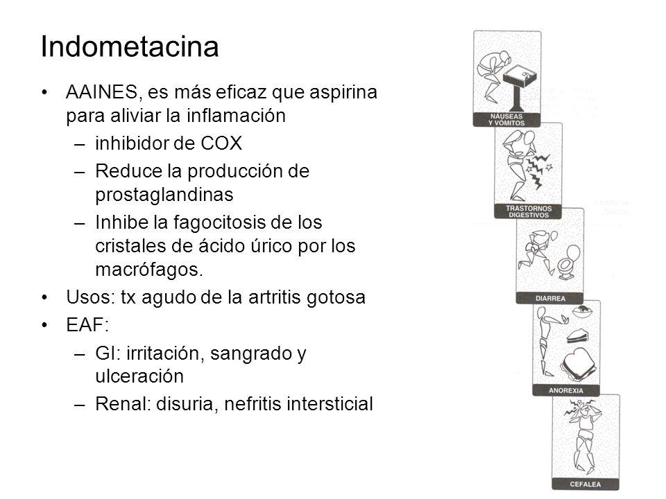 Indometacina AAINES, es más eficaz que aspirina para aliviar la inflamación –inhibidor de COX –Reduce la producción de prostaglandinas –Inhibe la fago