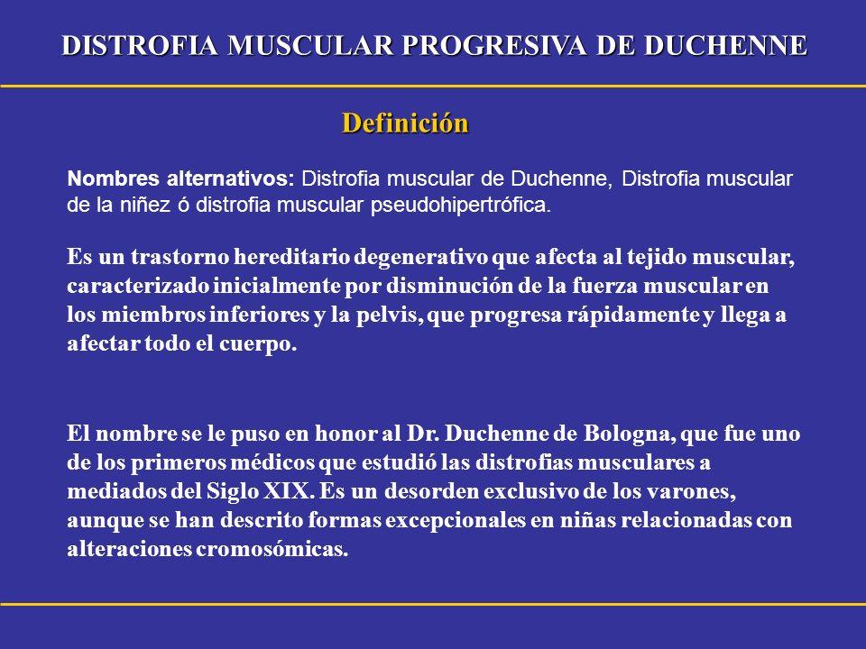 Definición Es un trastorno hereditario degenerativo que afecta al tejido muscular, caracterizado inicialmente por disminución de la fuerza muscular en
