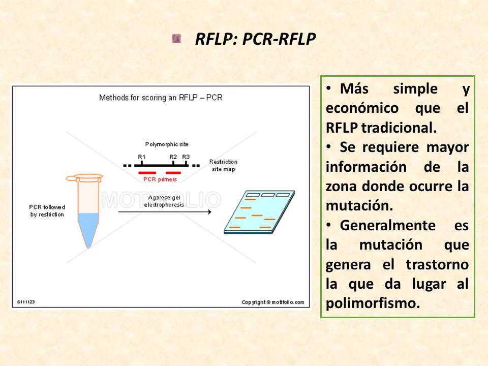 RFLP: PCR-RFLP Más simple y económico que el RFLP tradicional. Se requiere mayor información de la zona donde ocurre la mutación. Generalmente es la m