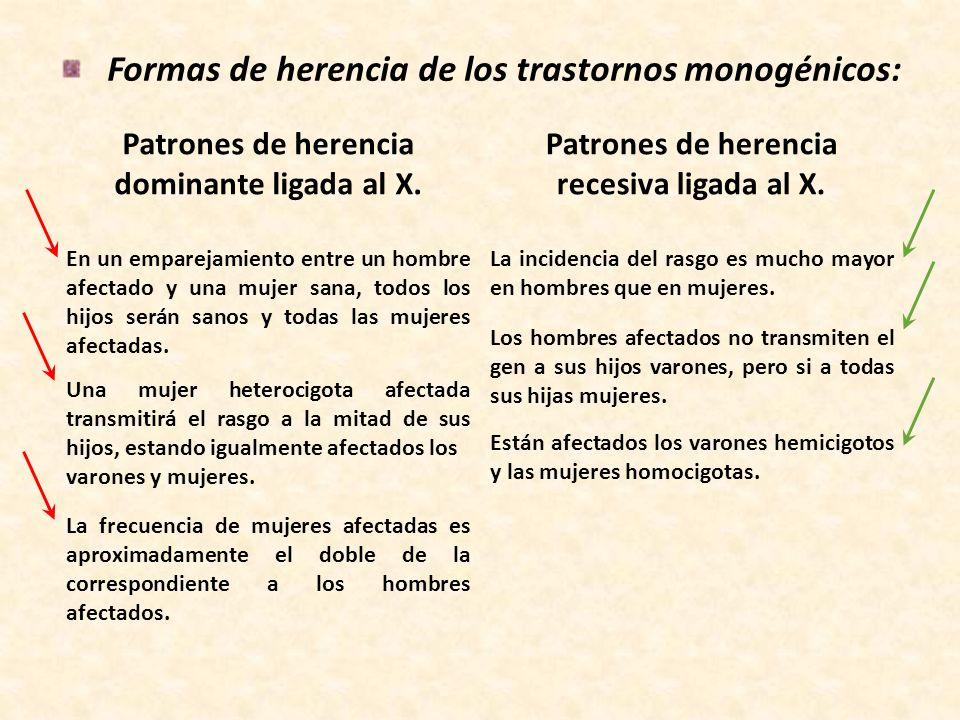 Formas de herencia de los trastornos monogénicos: Patrones de herencia recesiva ligada al X. Patrones de herencia dominante ligada al X. La incidencia