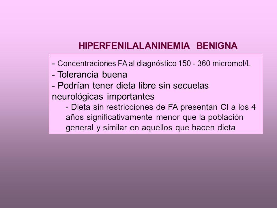 HIPERFENILALANINEMIA BENIGNA - Concentraciones FA al diagnóstico 150 - 360 micromol/L - Tolerancia buena - Podrían tener dieta libre sin secuelas neurológicas importantes - Dieta sin restricciones de FA presentan CI a los 4 años significativamente menor que la población general y similar en aquellos que hacen dieta - Concentraciones FA al diagnóstico 150 - 360 micromol/L - Tolerancia buena - Podrían tener dieta libre sin secuelas neurológicas importantes - Dieta sin restricciones de FA presentan CI a los 4 años significativamente menor que la población general y similar en aquellos que hacen dieta