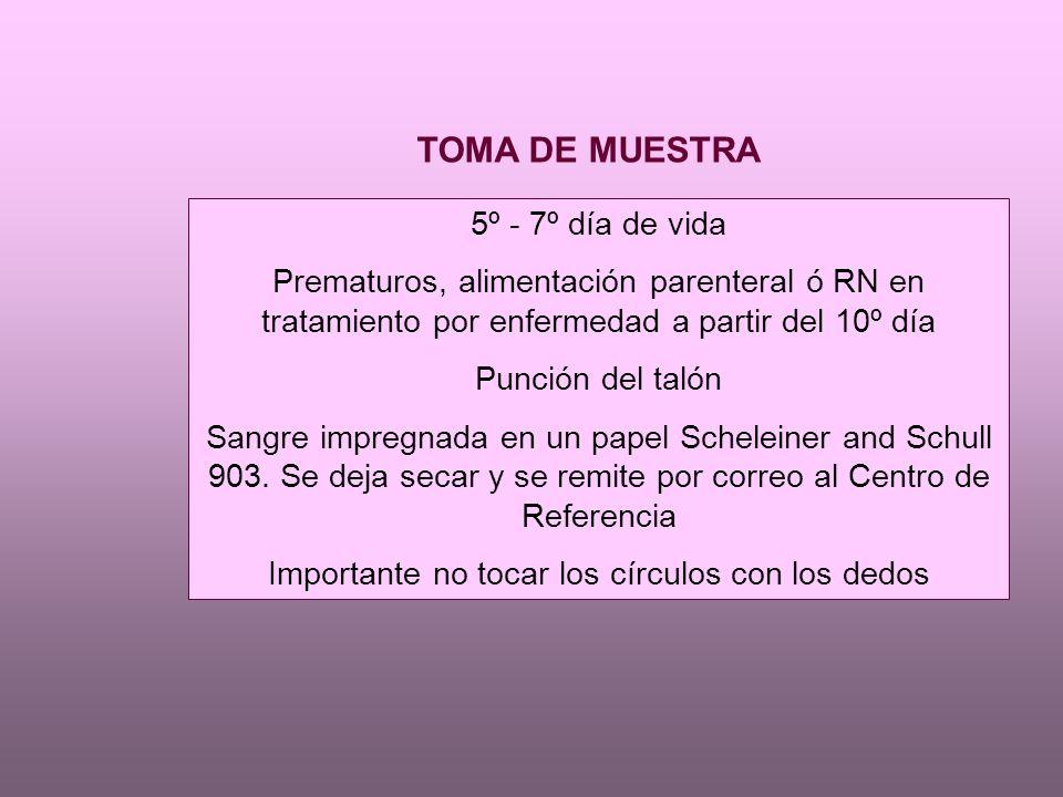 TOMA DE MUESTRA 5º - 7º día de vida Prematuros, alimentación parenteral ó RN en tratamiento por enfermedad a partir del 10º día Punción del talón Sangre impregnada en un papel Scheleiner and Schull 903.
