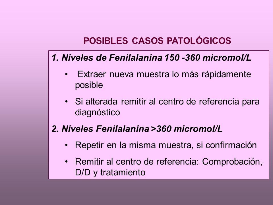 POSIBLES CASOS PATOLÓGICOS 1.Niveles de Fenilalanina 150 -360 micromol/L Extraer nueva muestra lo más rápidamente posible Si alterada remitir al centro de referencia para diagnóstico 2.Niveles Fenilalanina >360 micromol/L Repetir en la misma muestra, si confirmación Remitir al centro de referencia: Comprobación, D/D y tratamiento