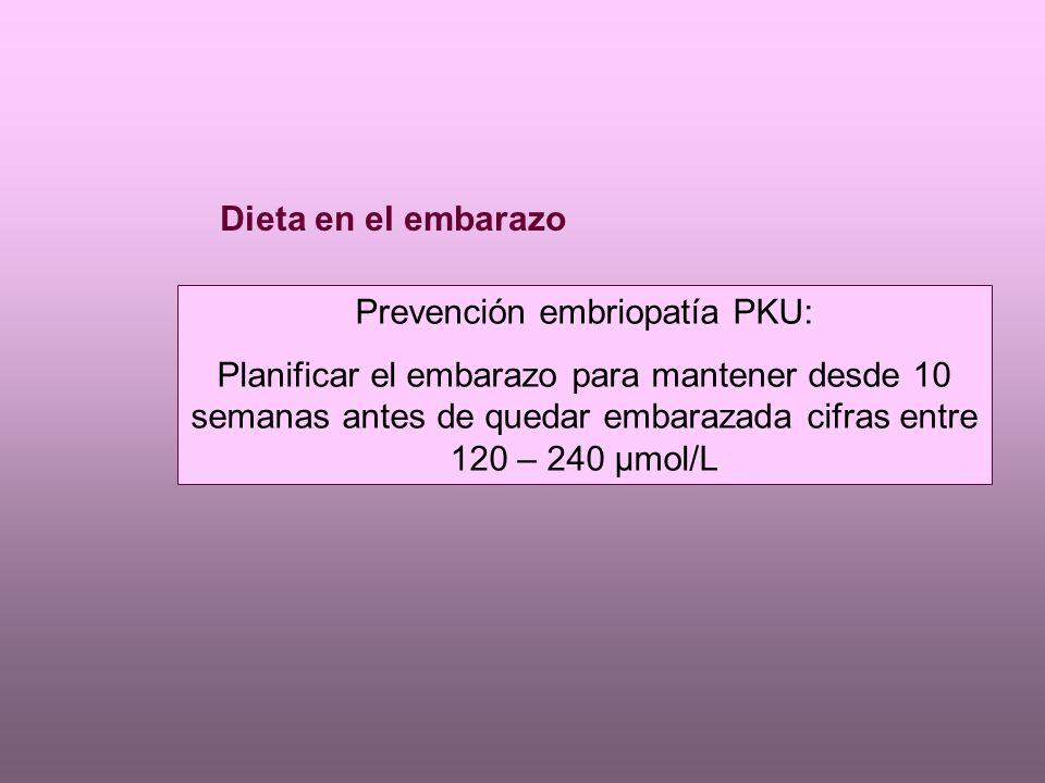 Dieta en el embarazo Prevención embriopatía PKU: Planificar el embarazo para mantener desde 10 semanas antes de quedar embarazada cifras entre 120 – 240 µmol/L
