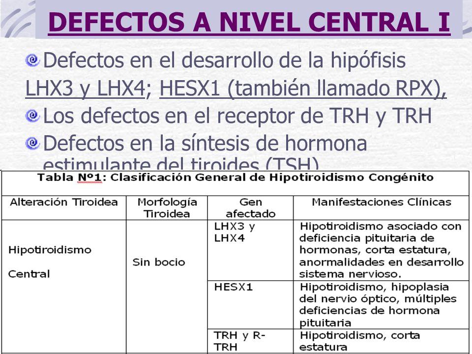 DEFECTOS A NIVEL CENTRAL I Defectos en el desarrollo de la hipófisis LHX3 y LHX4; HESX1 (también llamado RPX), Los defectos en el receptor de TRH y TR
