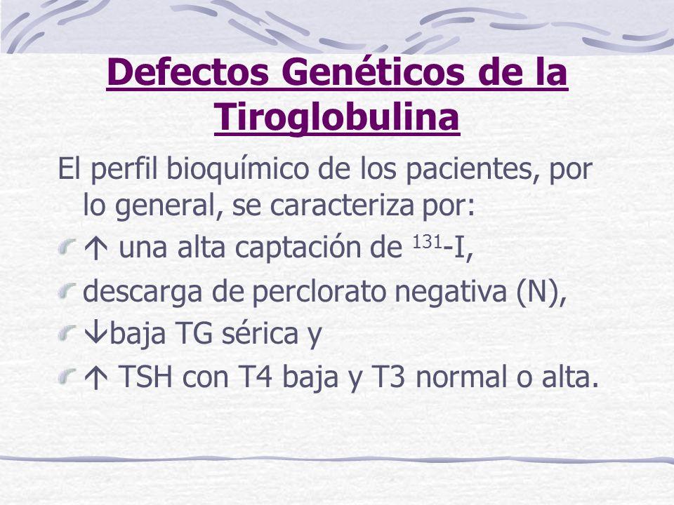 Defectos Genéticos de la Tiroglobulina El perfil bioquímico de los pacientes, por lo general, se caracteriza por: una alta captación de 131 -I, descar