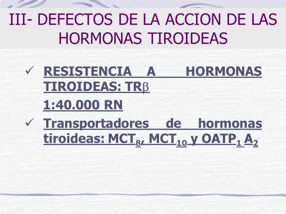 III- DEFECTOS DE LA ACCION DE LAS HORMONAS TIROIDEAS RESISTENCIA A HORMONAS TIROIDEAS: TR 1:40.000 RN Transportadores de hormonas tiroideas: MCT 8, MC