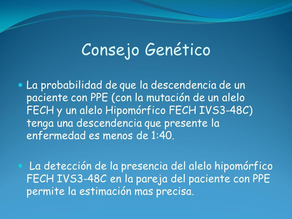 Consejo Genético La probabilidad de que la descendencia de un paciente con PPE (con la mutación de un alelo FECH y un alelo Hipomórfico FECH IVS3-48C)