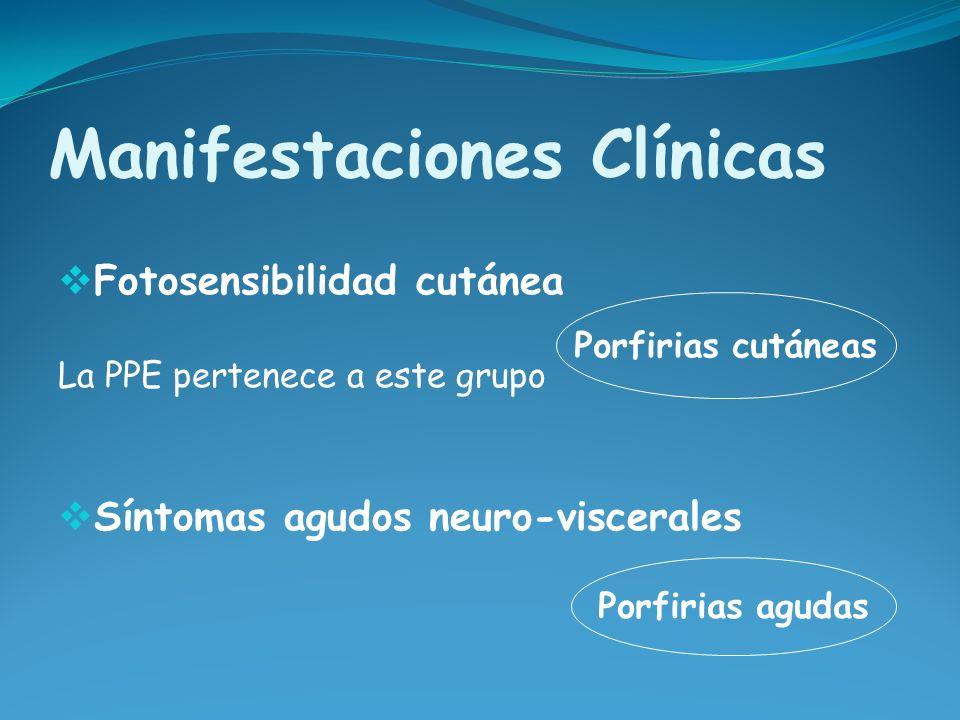 Manifestaciones Clínicas Fotosensibilidad cutánea La PPE pertenece a este grupo Síntomas agudos neuro-viscerales Porfirias cutáneas Porfirias agudas