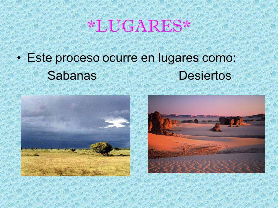 *LUGARES* Este proceso ocurre en lugares como: Sabanas Desiertos