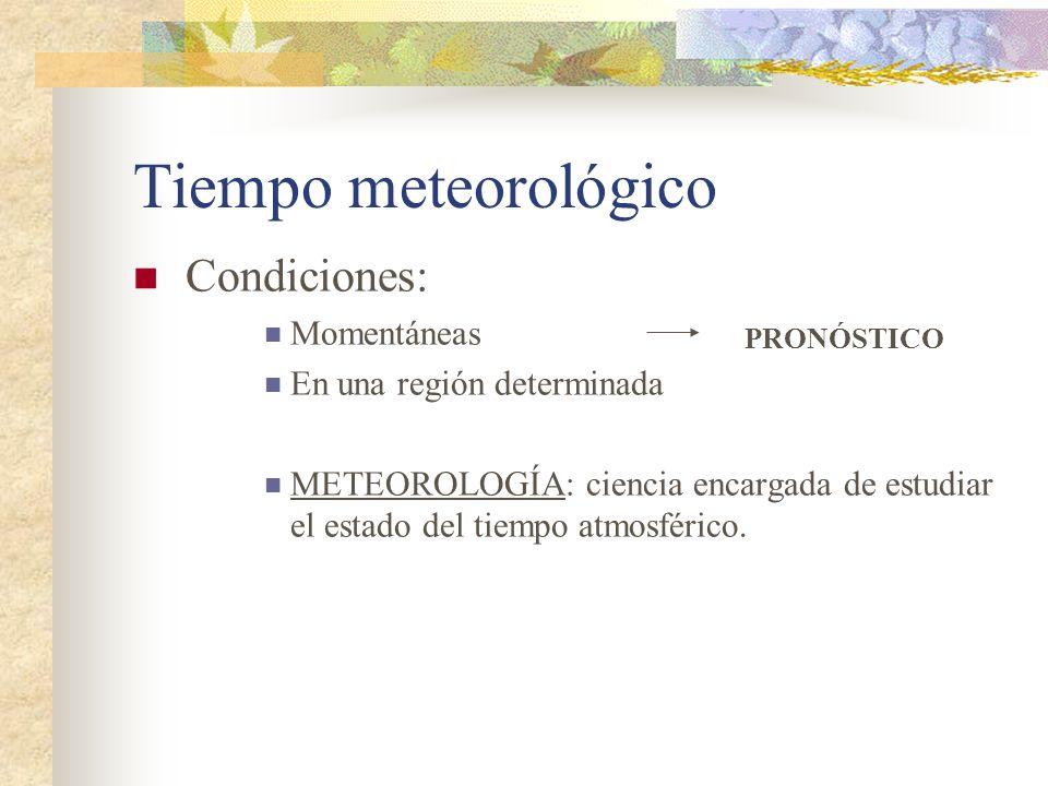 Tiempo meteorológico Condiciones: Momentáneas En una región determinada METEOROLOGÍA: ciencia encargada de estudiar el estado del tiempo atmosférico.