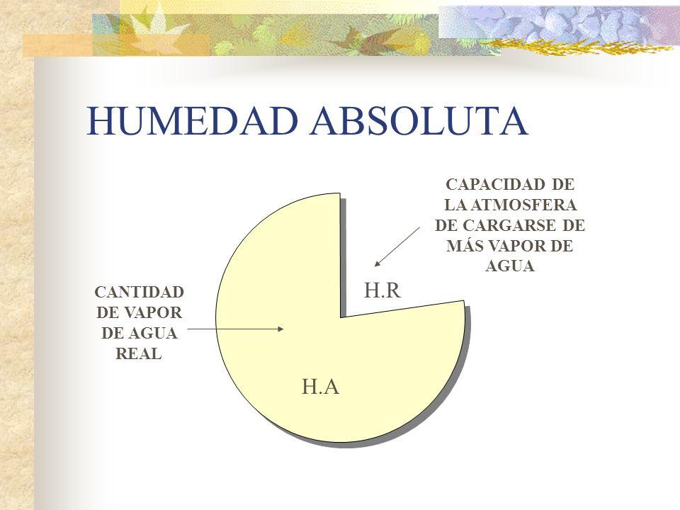 HUMEDAD ABSOLUTA CANTIDAD DE VAPOR DE AGUA REAL CAPACIDAD DE LA ATMOSFERA DE CARGARSE DE MÁS VAPOR DE AGUA H.A H.R