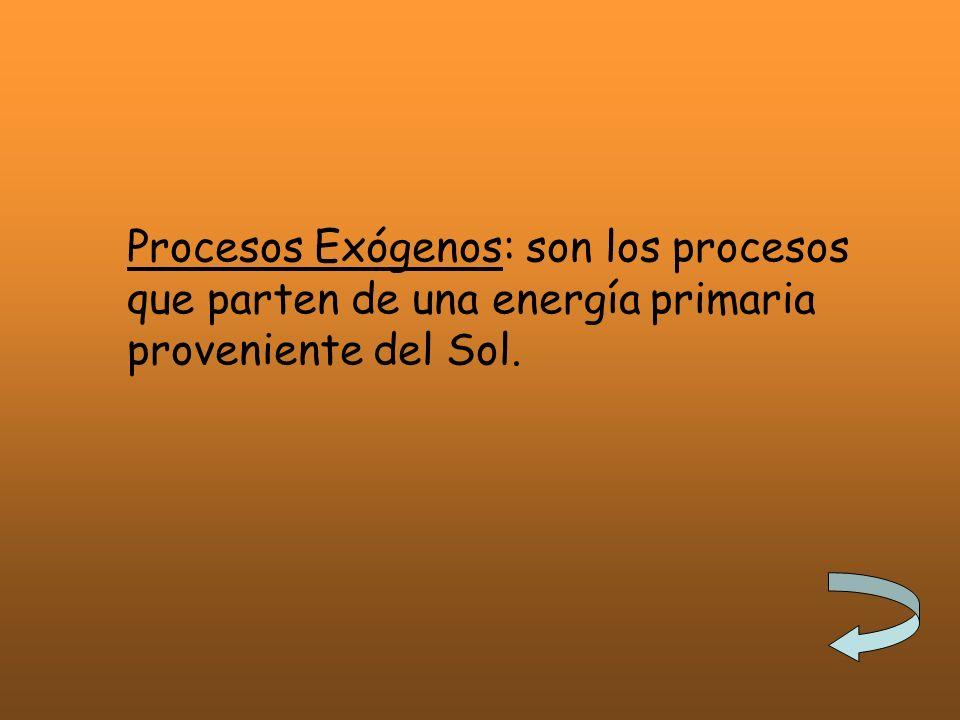Procesos Exógenos: son los procesos que parten de una energía primaria proveniente del Sol.