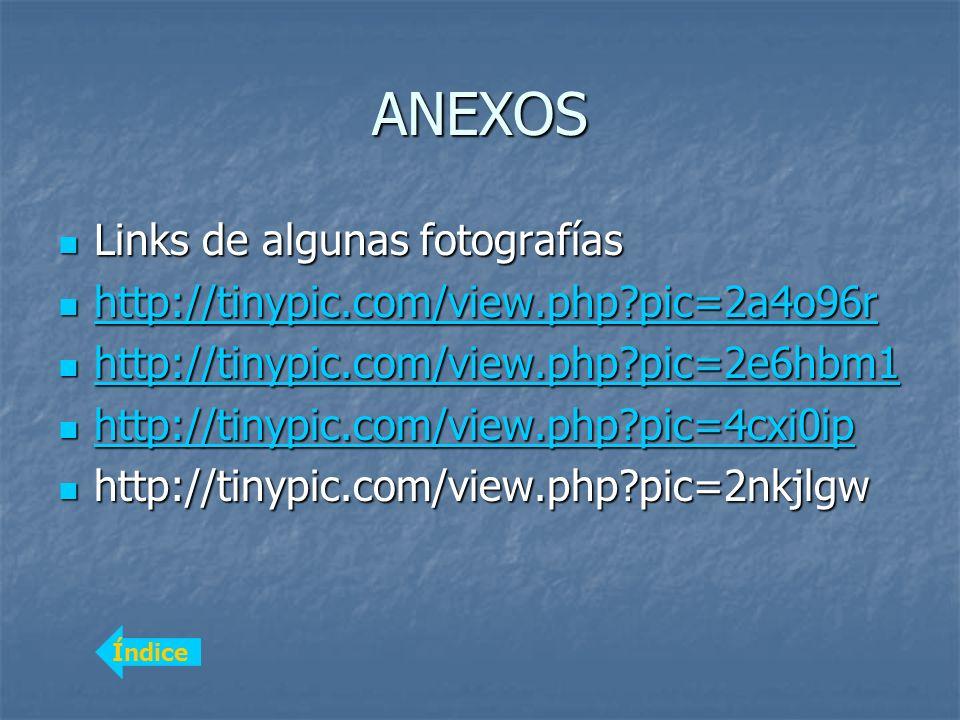ANEXOS Links de algunas fotografías Links de algunas fotografías http://tinypic.com/view.php?pic=2a4o96r http://tinypic.com/view.php?pic=2a4o96r http:
