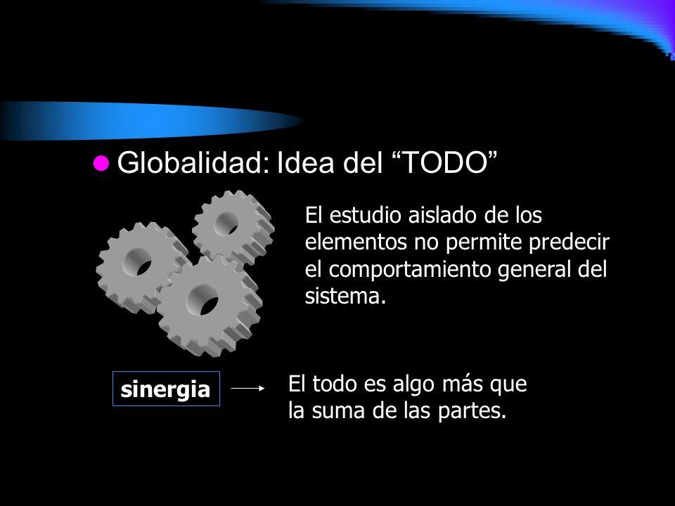 Globalidad: Idea del TODO El estudio aislado de los elementos no permite predecir el comportamiento general del sistema. sinergia El todo es algo más
