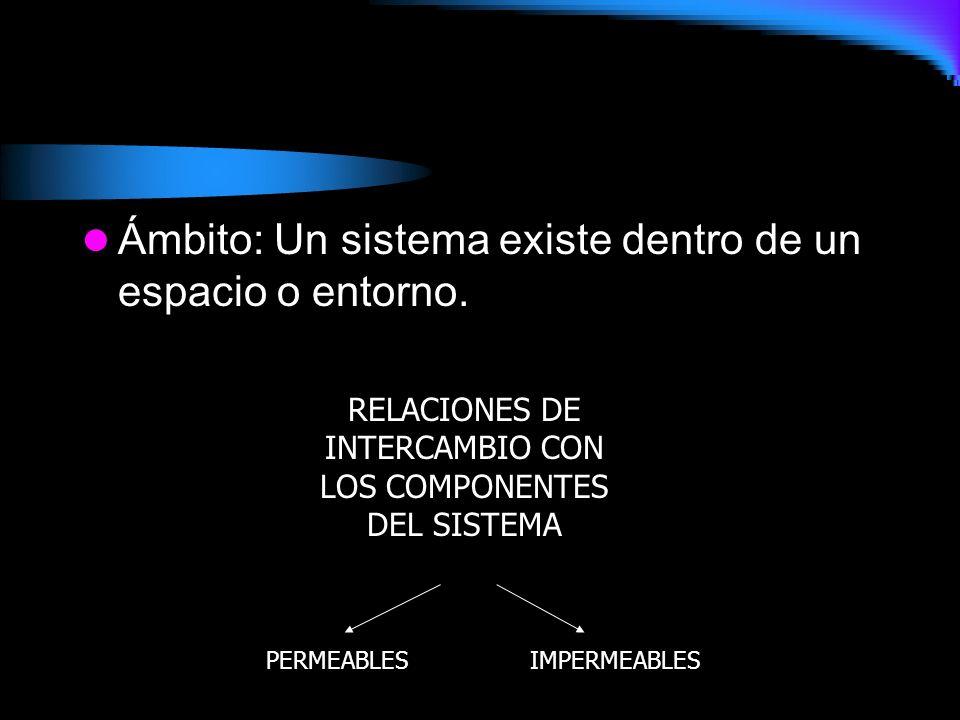 Ámbito: Un sistema existe dentro de un espacio o entorno. RELACIONES DE INTERCAMBIO CON LOS COMPONENTES DEL SISTEMA PERMEABLESIMPERMEABLES