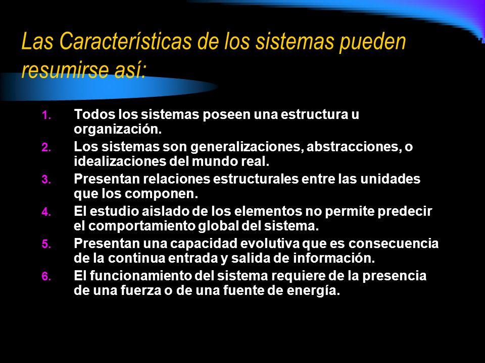 Las Características de los sistemas pueden resumirse así: 1. Todos los sistemas poseen una estructura u organización. 2. Los sistemas son generalizaci