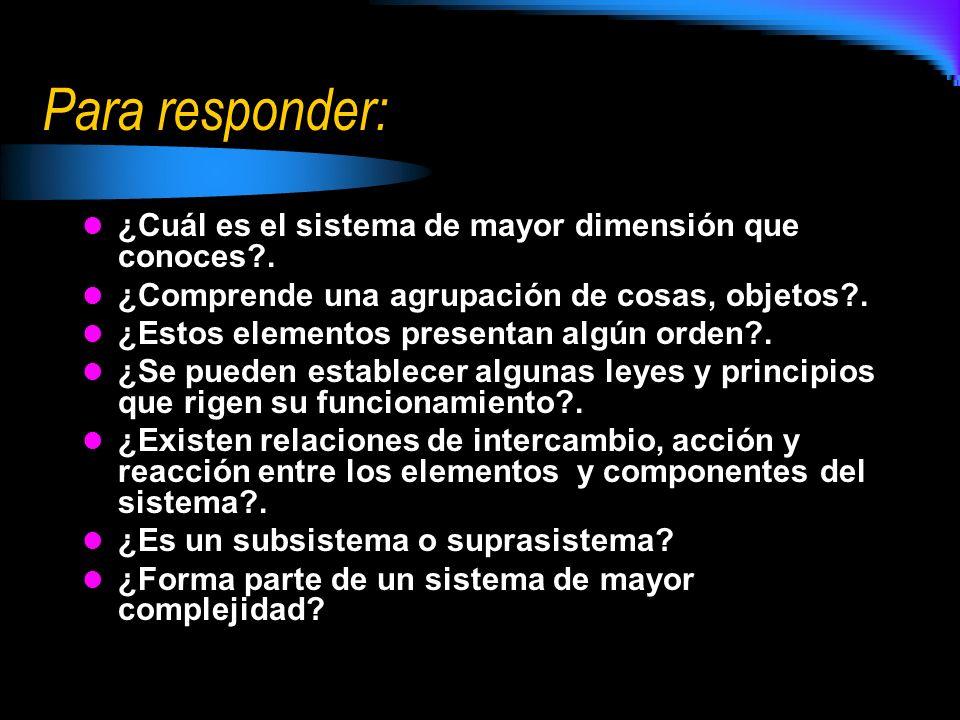 Para responder: ¿Cuál es el sistema de mayor dimensión que conoces?. ¿Comprende una agrupación de cosas, objetos?. ¿Estos elementos presentan algún or