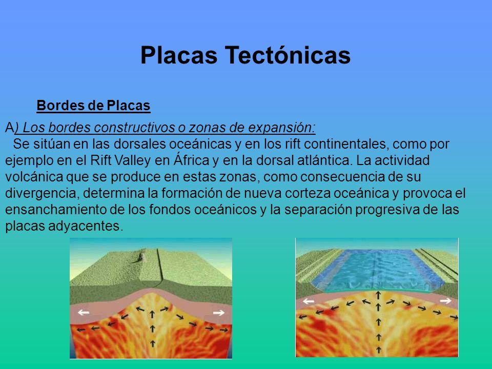 A) Los bordes constructivos o zonas de expansión: Se sitúan en las dorsales oceánicas y en los rift continentales, como por ejemplo en el Rift Valley en África y en la dorsal atlántica.