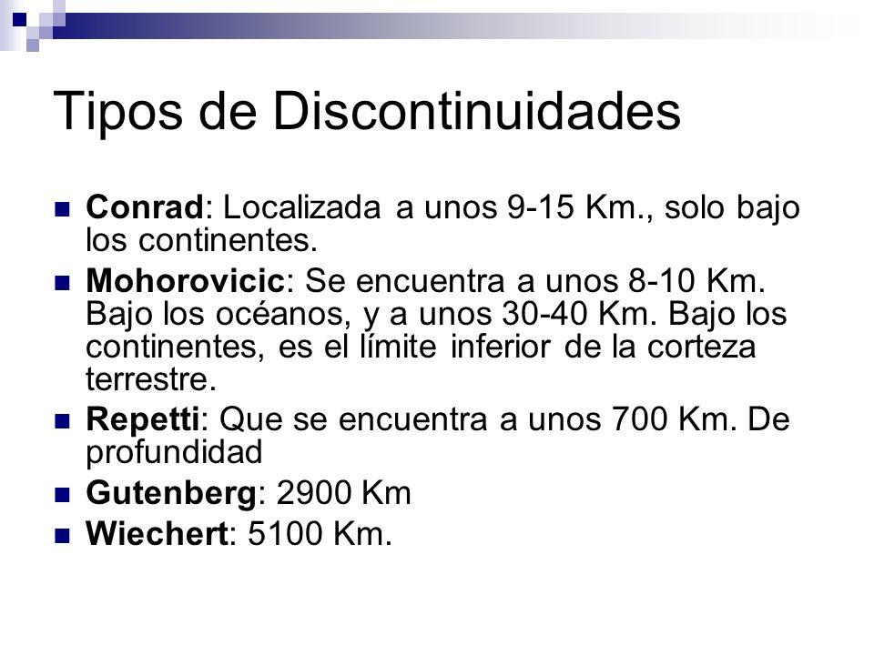Tipos de Discontinuidades Conrad: Localizada a unos 9-15 Km., solo bajo los continentes. Mohorovicic: Se encuentra a unos 8-10 Km. Bajo los océanos, y