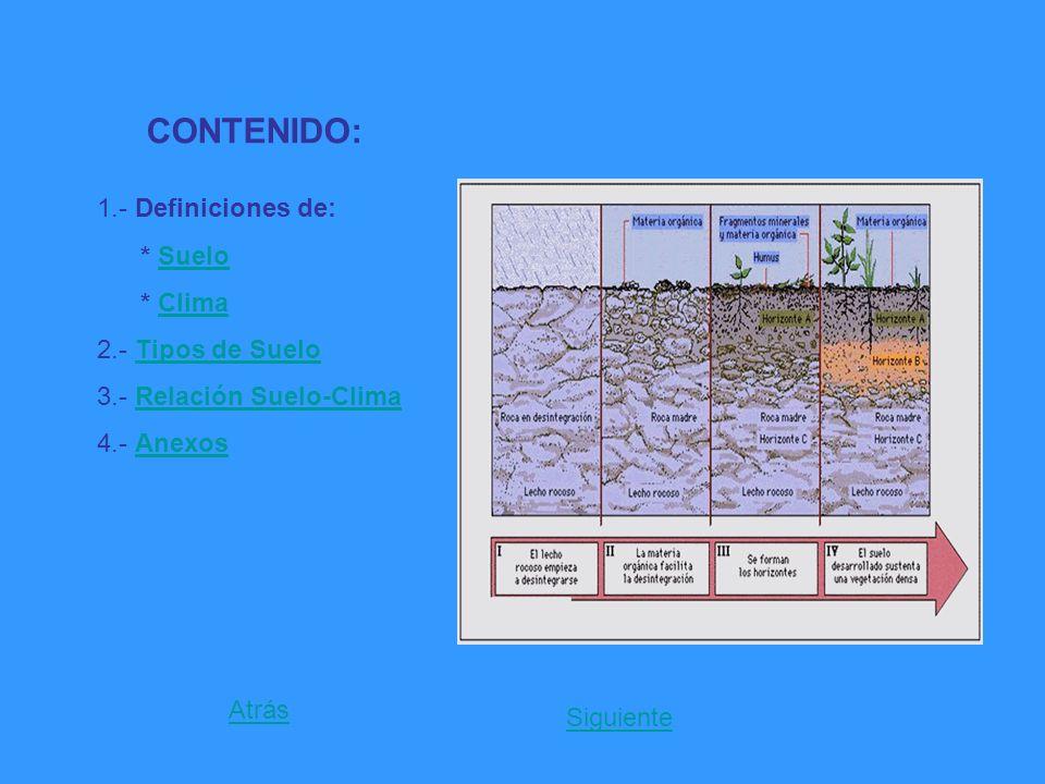 CONTENIDO: 1.- Definiciones de: * SueloSuelo * ClimaClima 2.- Tipos de SueloTipos de Suelo 3.- Relación Suelo-ClimaRelación Suelo-Clima 4.- AnexosAnex