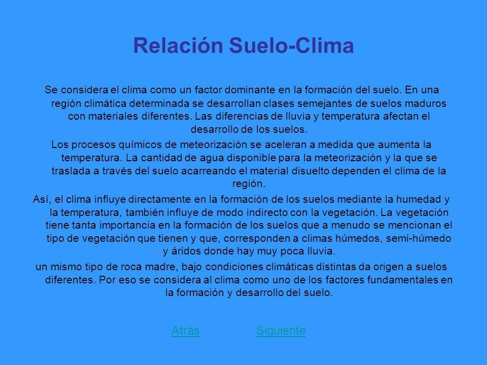 Relación Suelo-Clima Se considera el clima como un factor dominante en la formación del suelo. En una región climática determinada se desarrollan clas