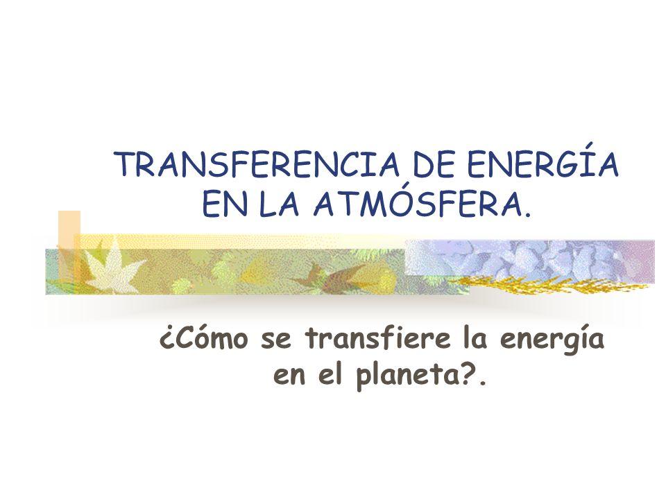 TRANSFERENCIA DE ENERGÍA EN LA ATMÓSFERA. ¿Cómo se transfiere la energía en el planeta?.