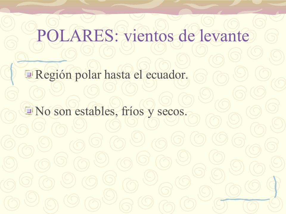 POLARES: vientos de levante Región polar hasta el ecuador. No son estables, fríos y secos.